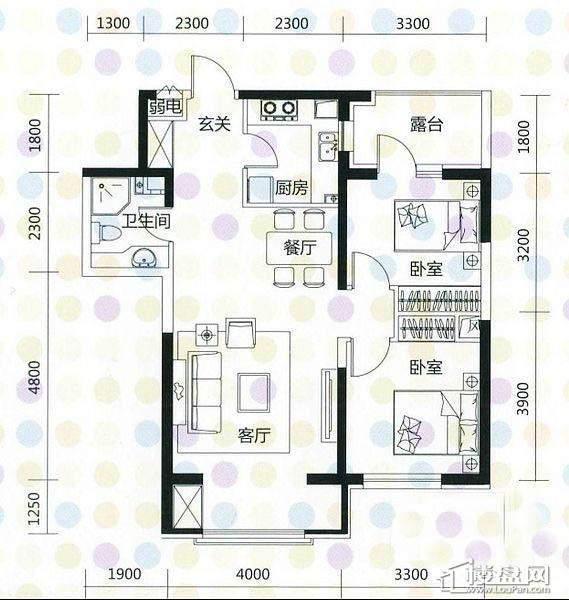 奥园·国际城奥园红馆A3户型2室2厅1卫1厨