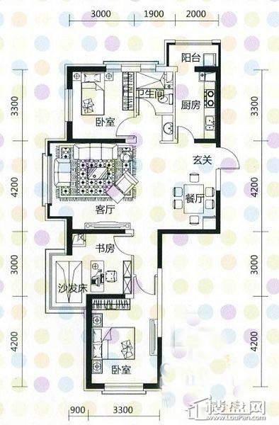 奥园·国际城奥园红馆B1户型3室2厅1卫1厨