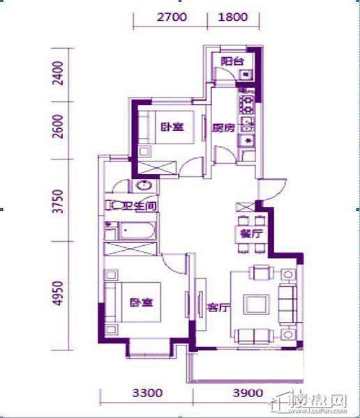 奥园会展广场87平户型图2室2厅1卫1厨