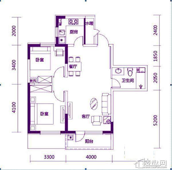 奥园会展广场90平户型图2室2厅1卫1厨