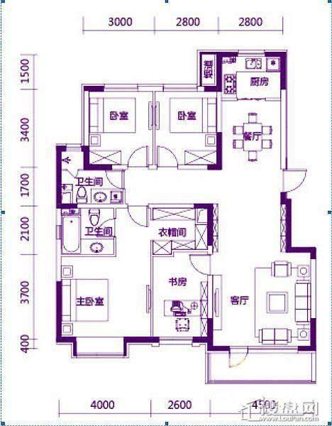 奥园会展广场143平户型图4室2厅1卫1厨