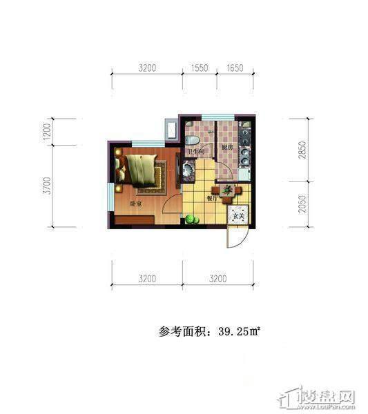 雷明锦程户型A1室1厅1卫39.25㎡1室1厅1卫1厨 39.25㎡.
