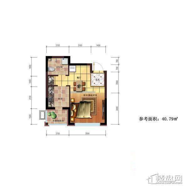 雷明锦程户型图B1室1厅1卫40.79㎡1室1厅1卫1厨 40.79㎡.