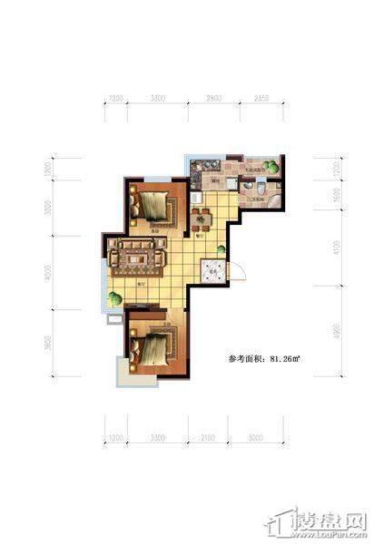 雷明锦程户型图E2室2厅1卫81.26㎡2室2厅1卫1厨 81.26㎡.