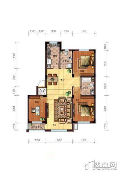 雷明锦程户型图H3室2厅2卫109.62㎡3室2厅2卫1厨 109.62㎡