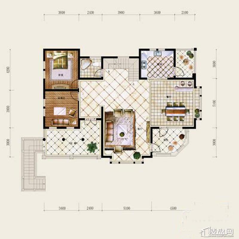 保利十二橡树庄园B户型-首层平面图4室4厅3卫
