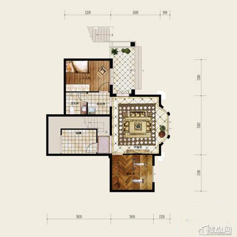 保利十二橡树庄园A户型二层平面图