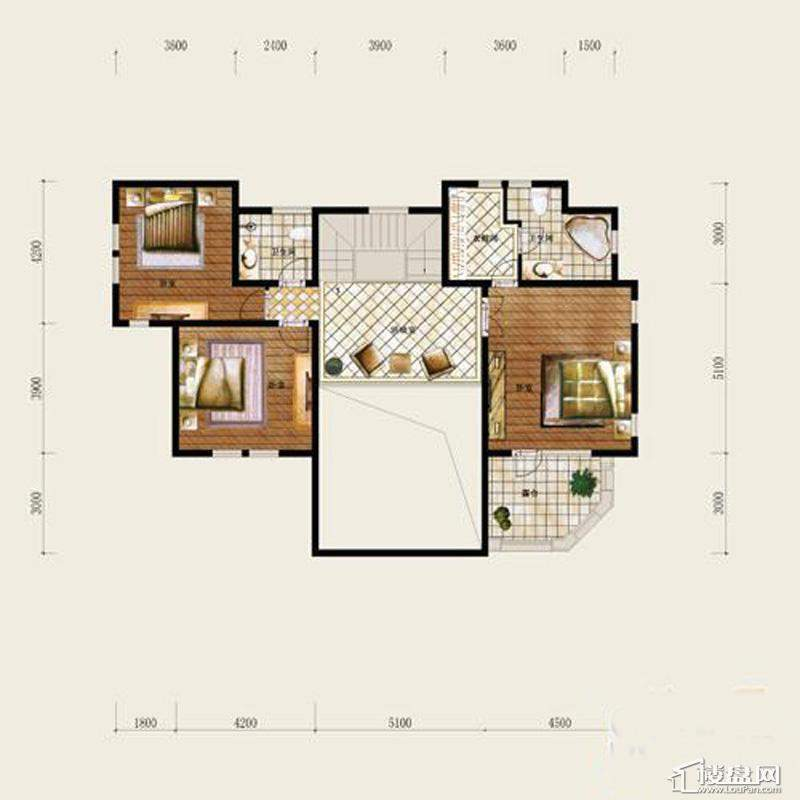 保利十二橡树庄园B户型-二层平面图