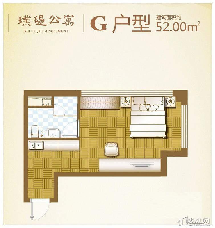 华府新天地c2楼座G户型1室1厅1卫 52.00㎡
