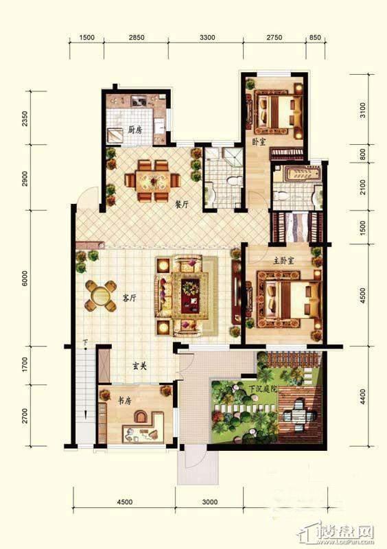 北国奥林匹克花园B1-1户型3室2厅2卫1厨