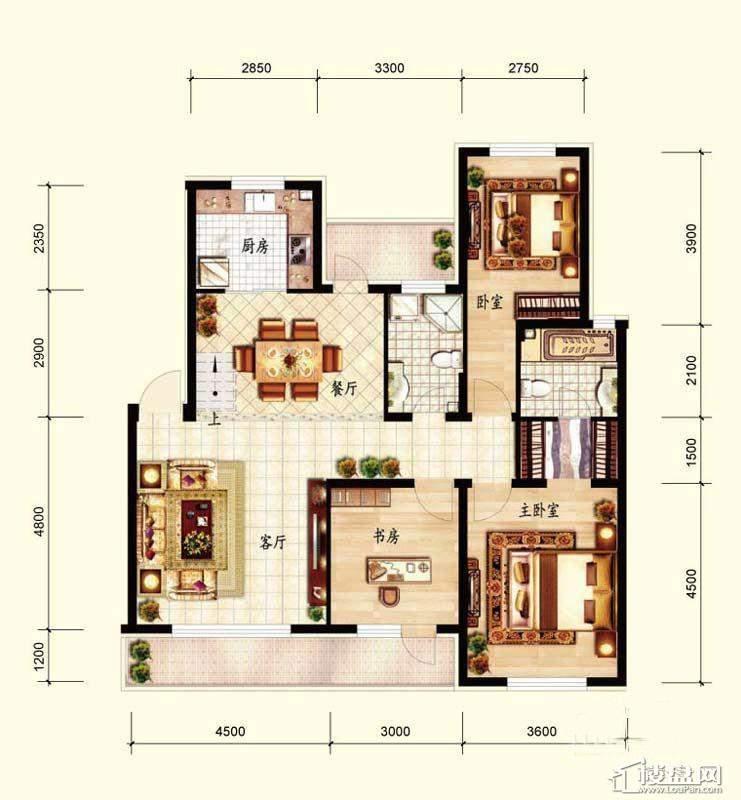 北国奥林匹克花园B4-1户型3室2厅2卫1厨