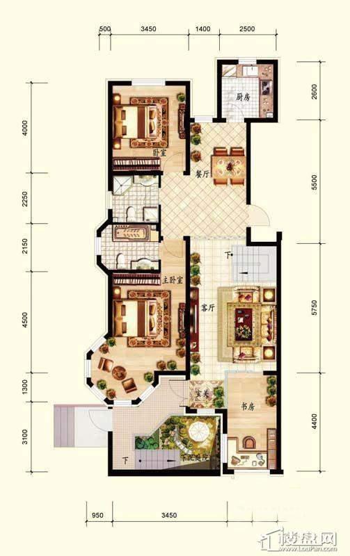 北国奥林匹克花园C1-1户型3室2厅2卫1厨