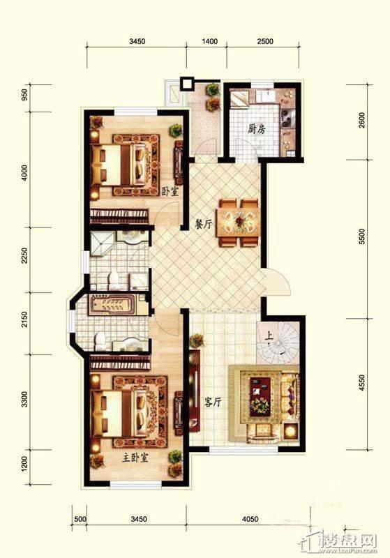 北国奥林匹克花园c5-01户型2室2厅2卫1厨
