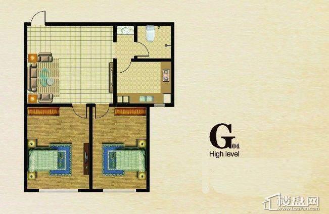 长堤湾 户型图G042室1厅1卫1厨