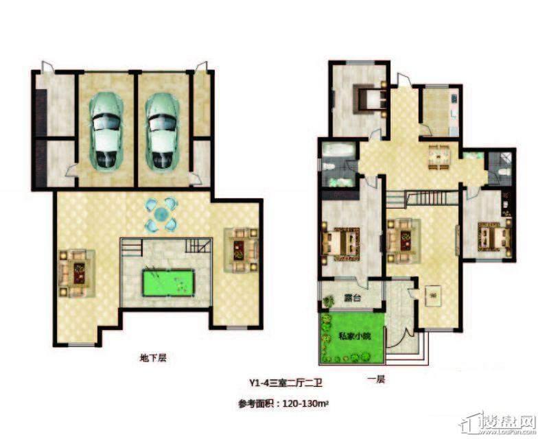 长堤湾 户型图Y1-4-013室2厅2卫1厨