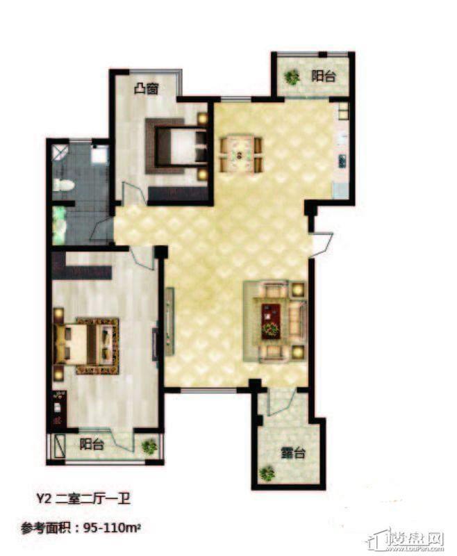 长堤湾 户型图Y2-012室2厅1卫1厨