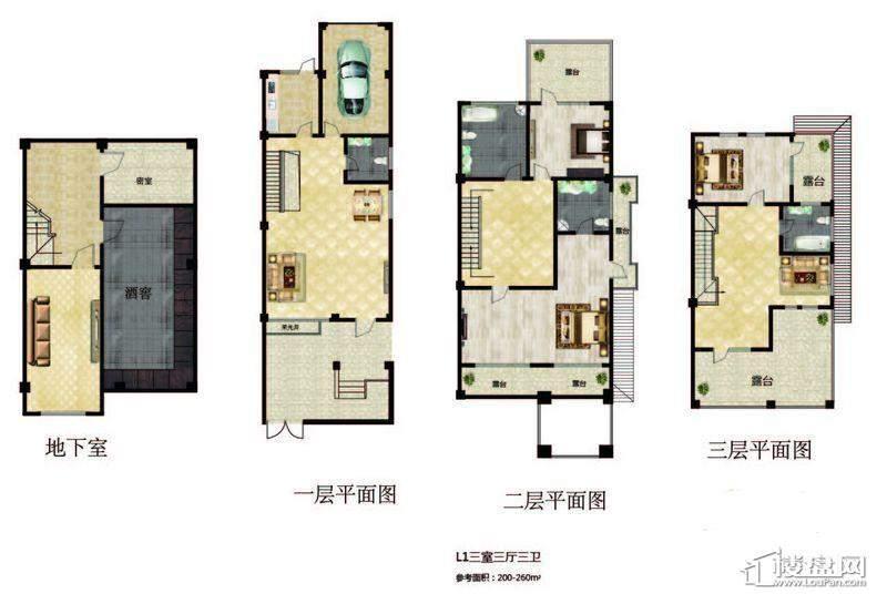 长堤湾 联排-01户型图3室3厅3卫1厨