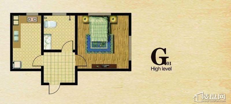 长堤湾户型图G011室1厅1卫1厨