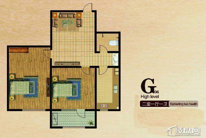 长堤湾户型图G062室1厅1卫1厨