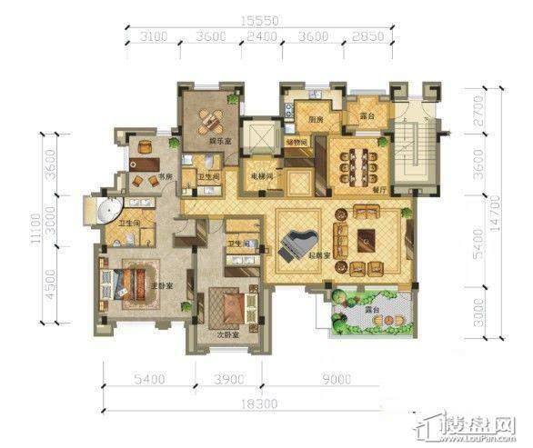 崇山墅4层3室2厅3卫1厨