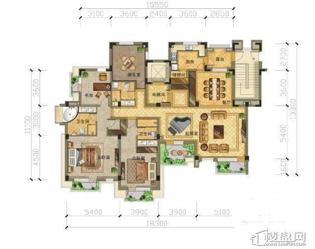 崇山墅5层3室2厅3卫1厨