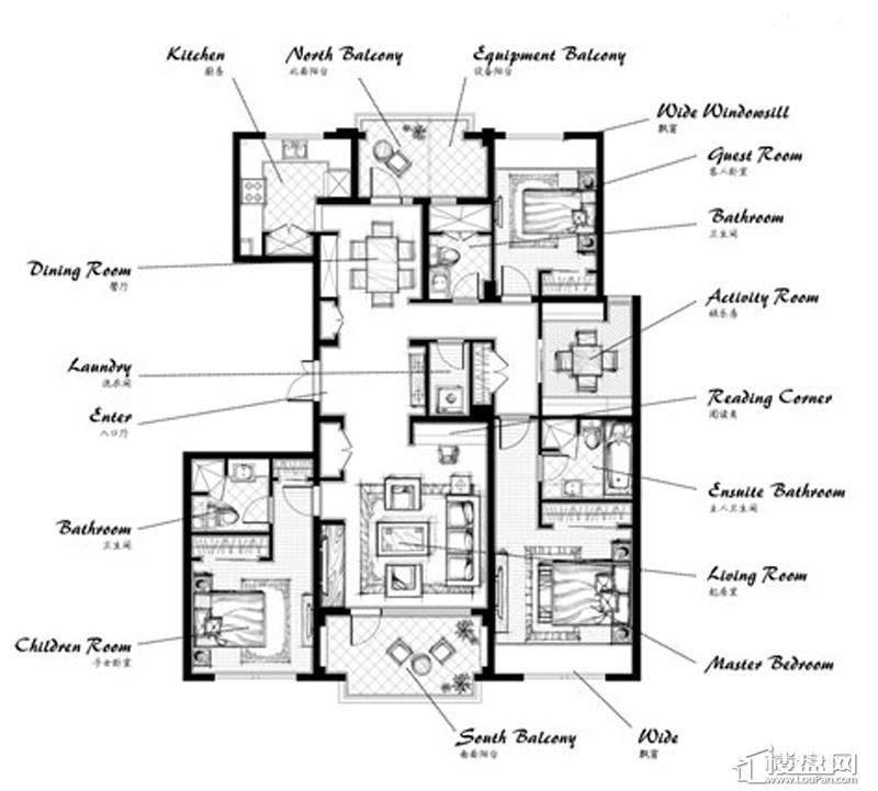 郡原九润公寓B3户型4室2厅3卫1厨 169.00㎡