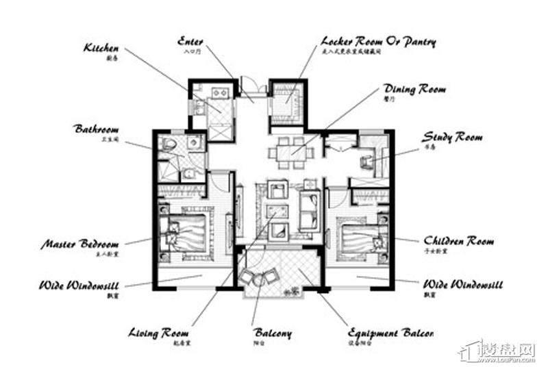 郡原九润公寓A1户型3室2厅1卫1厨 89.00㎡