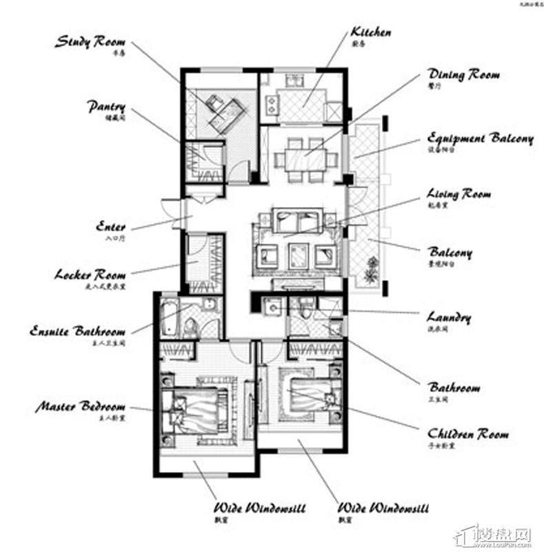 郡原九润公寓A4户型3室2厅2卫1厨 119.00㎡