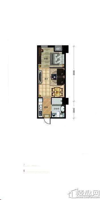 瀚都国际户型新1-21室1厅1卫