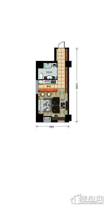 瀚都国际户型新1-31室1厅1卫