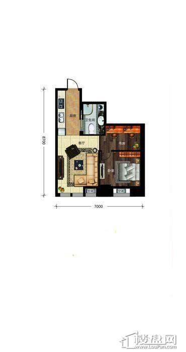 瀚都国际户型新1-41室1厅1卫