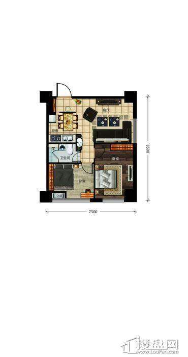 瀚都国际户型新1-52室1厅1卫
