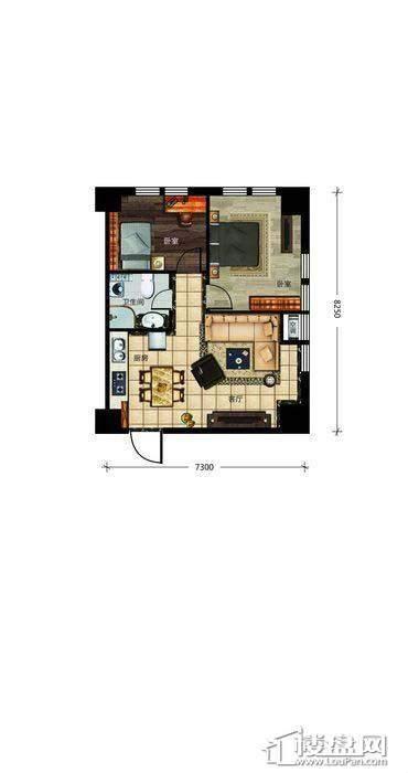瀚都国际户型新1-62室1厅1卫