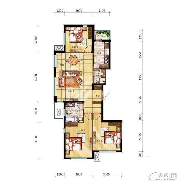 和兴·长白湾建筑-G户型3室2厅2卫