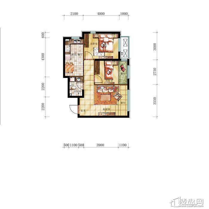 和兴·长白湾建筑-A户型2室2厅1卫