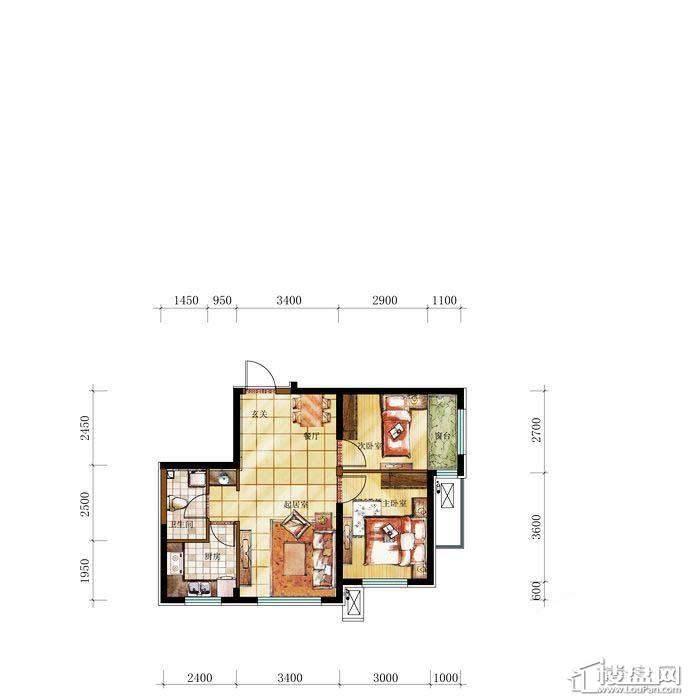 和兴·长白湾建筑-B户型2室2厅1卫
