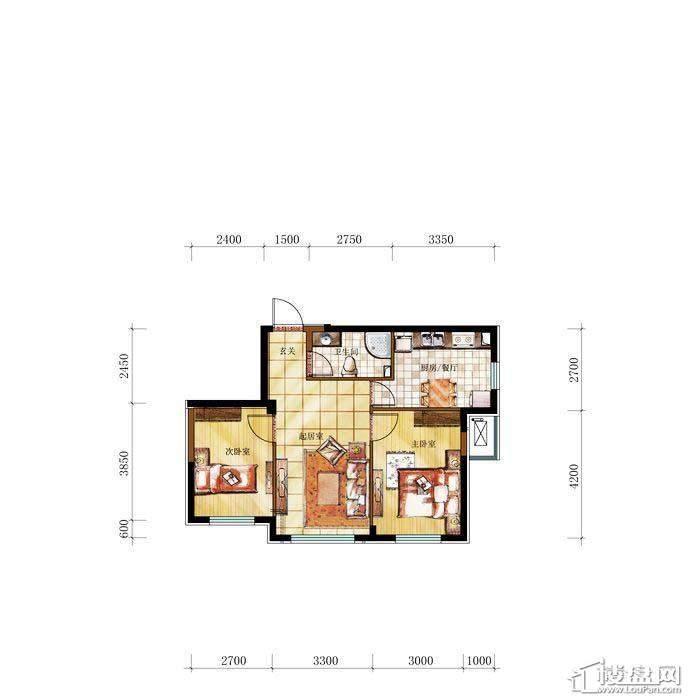 和兴·长白湾建筑-C户型2室2厅1卫