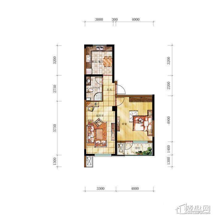 和兴·长白湾建筑-D户型1室2厅1卫
