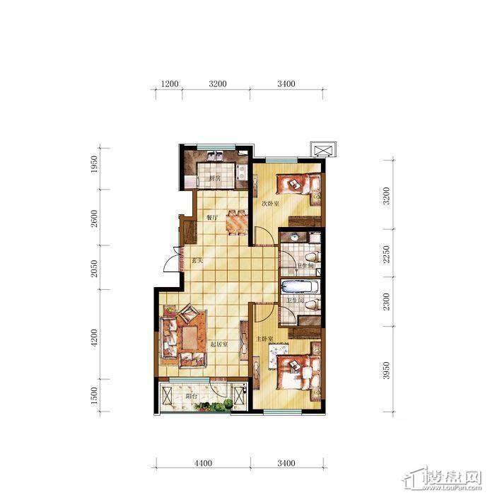 和兴·长白湾建筑-E户型2室2厅2卫