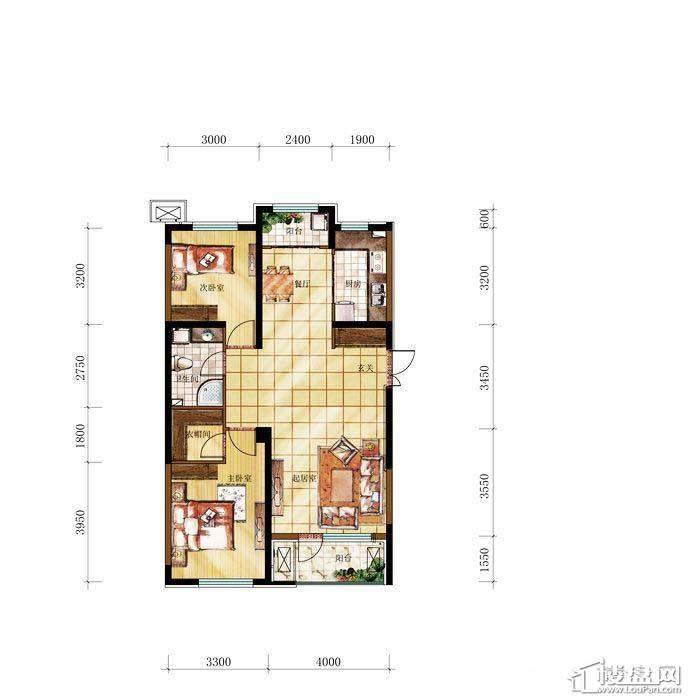 和兴·长白湾建筑-F户型2室2厅1卫