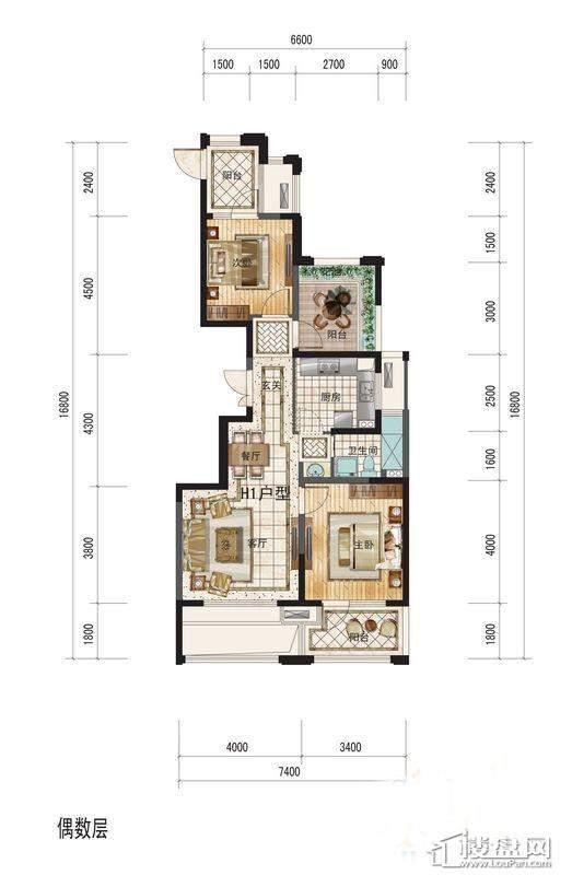 侨福一品高尔夫H1户型图2室2厅1卫1厨 88.00㎡