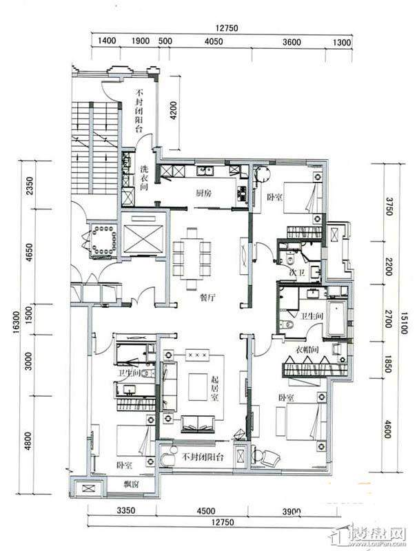 万科柏翠园B户型3室2厅3卫