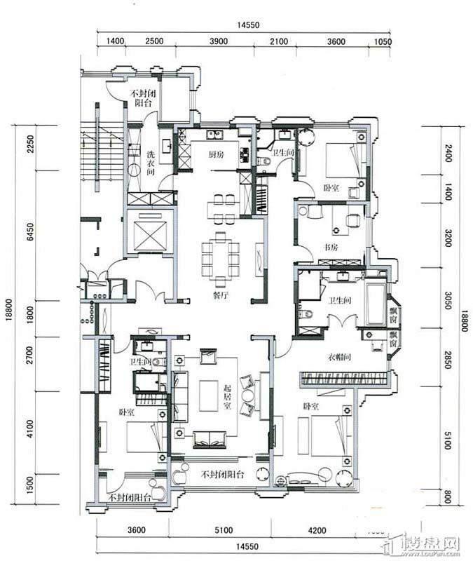 万科柏翠园C户型4室2厅3卫