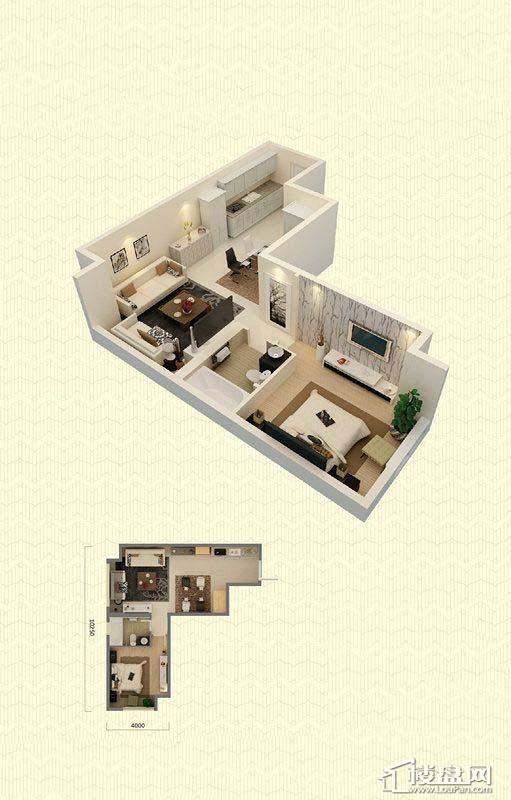 佳兆业中心A户型1室2厅1卫68-70㎡1室2厅1卫1厨