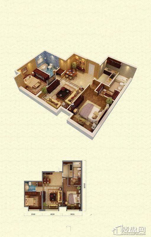 佳兆业中心B户型2室2厅2卫108-112㎡2室2厅2卫1厨