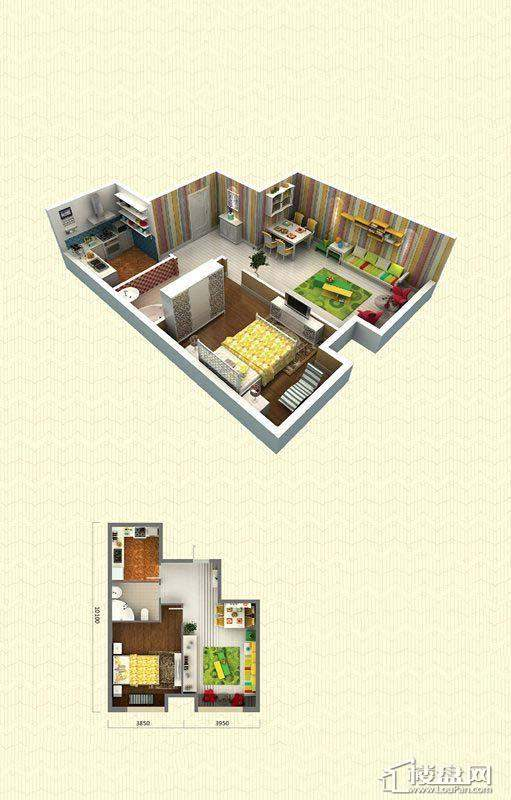 佳兆业中心C户型1室2厅1卫78-81㎡1室2厅1卫1厨