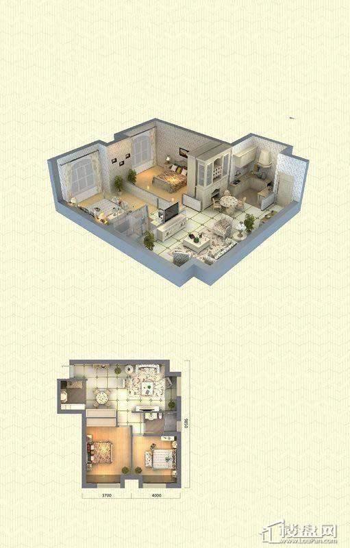 佳兆业中心D户型2室2厅1卫91-93㎡2