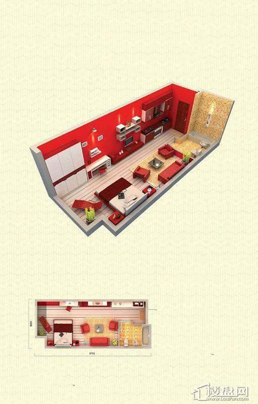 佳兆业中心E户型1室1厅1卫43-47㎡1室1厅1卫1厨