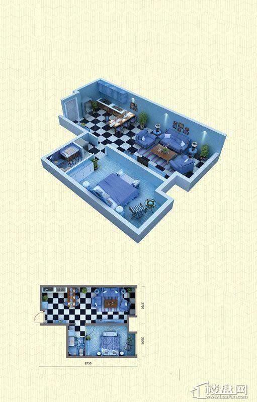 佳兆业中心G户型1室2厅1卫68-71㎡1室2厅1卫1厨