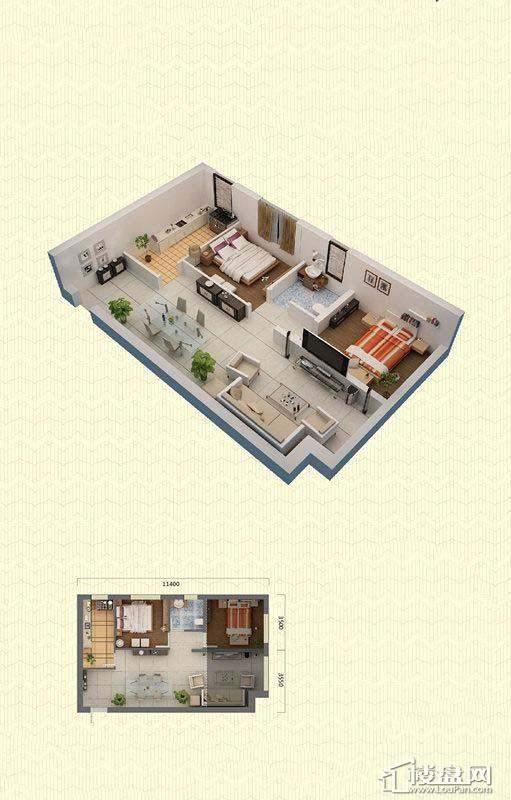佳兆业中心K户型2室2厅1卫70-72㎡2室2厅1卫1厨